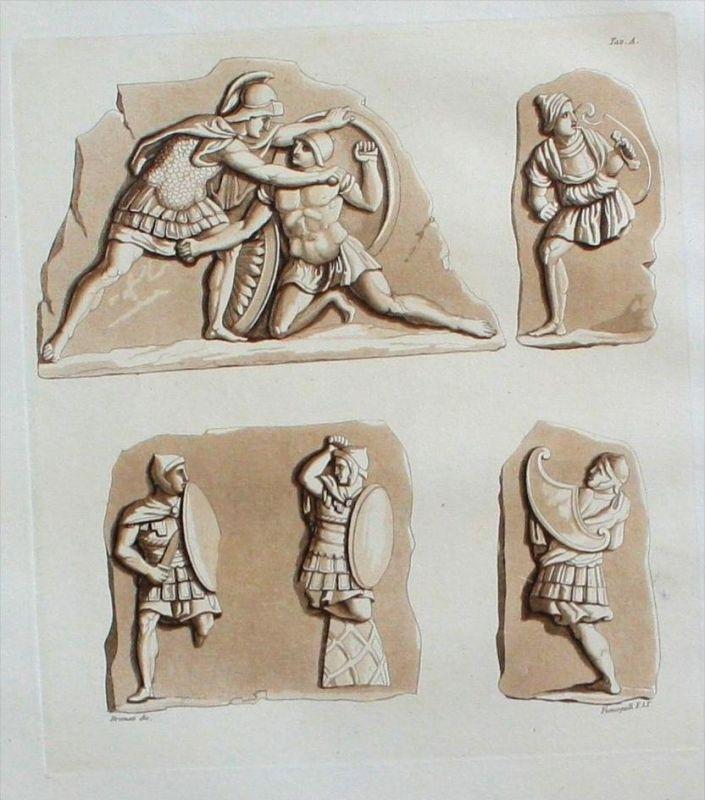 Etrusker Militaria Kämpfer Soldaten Aquatinta aquatint antique print