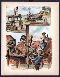 Maurer Zimmermann Bootsbauer Boot Arbeit Beruf Original Lithographie