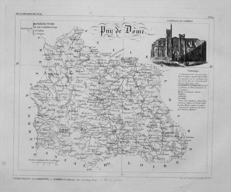 Departement Puy de Dôme carte gravure Kupferstich Karte map France
