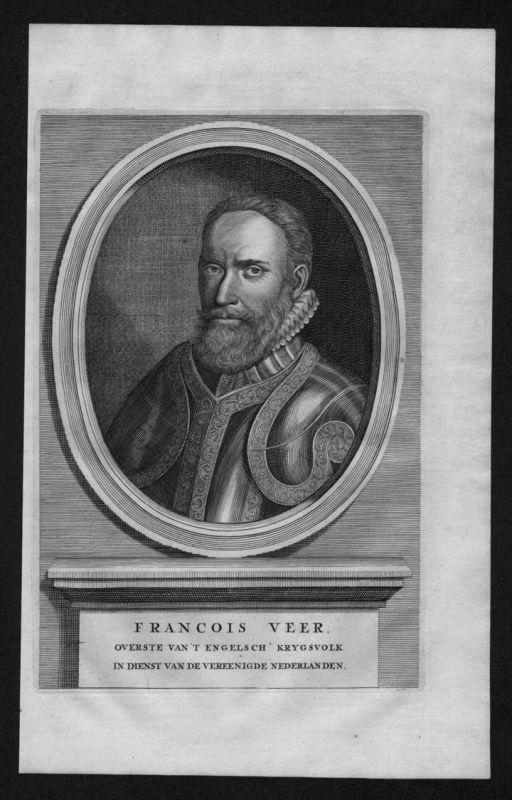 Sir Francis Vere England soldier Portrait Kupferstich engraving