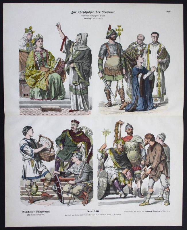 Karolinger Ritter Kostüme Tracht Trachten Münchener Bilderbogen