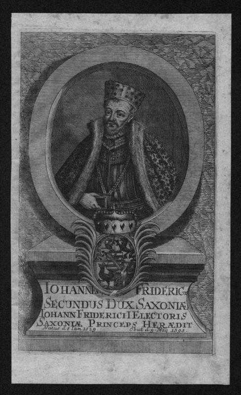 Johann Friedrich II Kurfürst Sachsen Wettin Portrait Kupferstich engraving