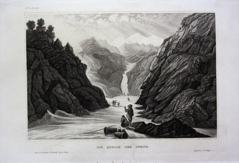 Yamuna Jumna Quelle Fluss Indien India Asien Asia engraving Stahlstich