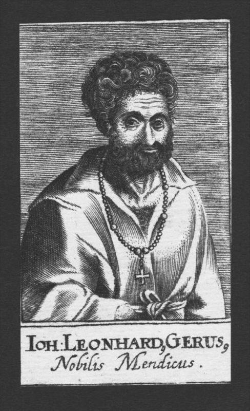 Johann Leonhard Gerus Arzt doctor Theologe Kupferstich Portrait