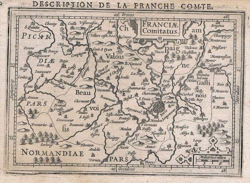 Ile-de-France Paris gravure carte map Karte Hondius Kupferstich