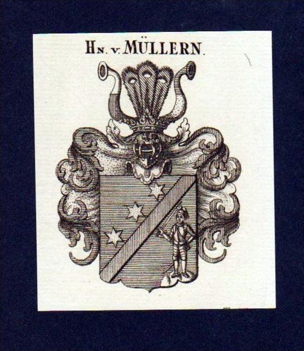 Herren von Müllern Original Kupferstich Wappen engraving Heraldik crest