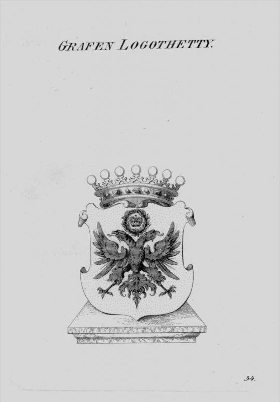 Logothetty Wappen Adel coat of arms heraldry Heraldik crest Kupferstich