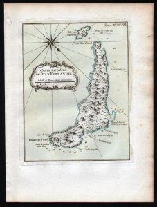 Juan Fernandez Islands Chile South America Bellin handcolored antique map