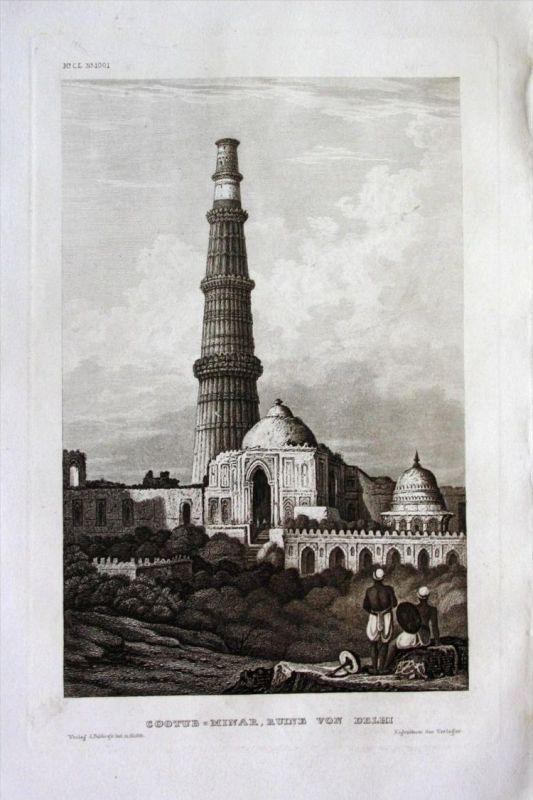 Qutub Minar Ruine Delhi Indien India Asien Asia engraving Stahlstich
