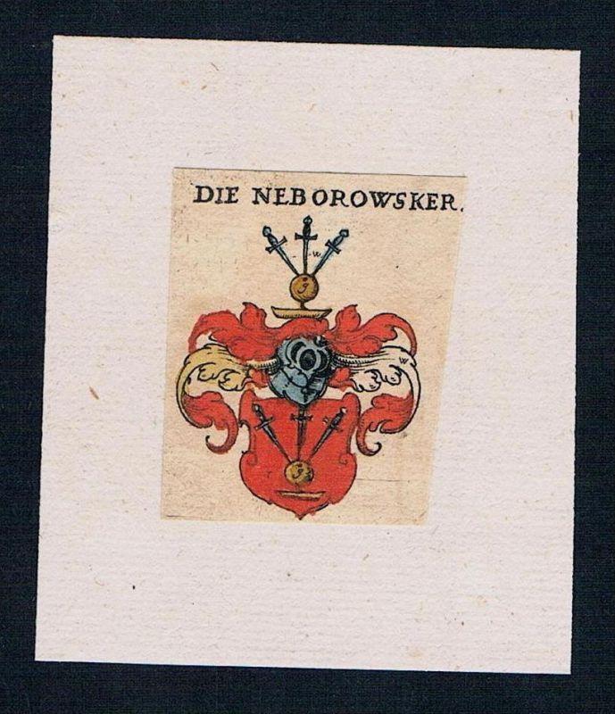 . Neborowsky Schlesien Wappen coat of arms heraldry Heraldik Kupferstich