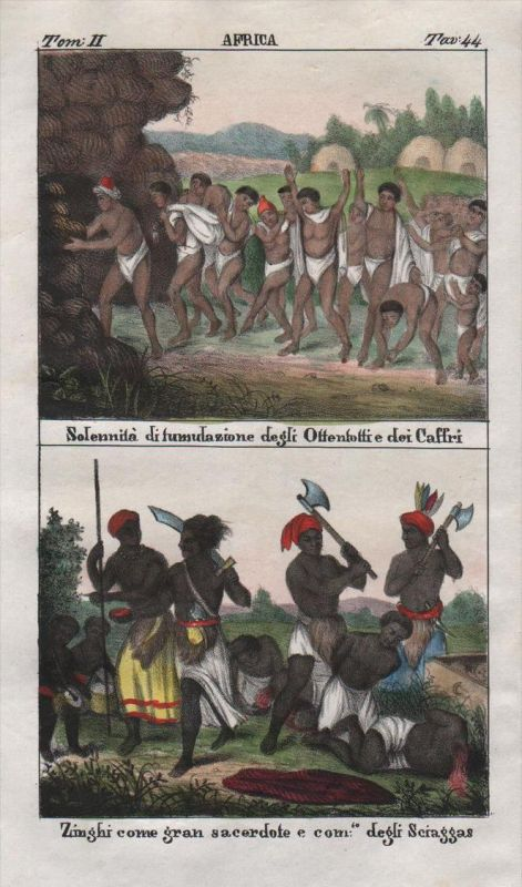 - South Africa Khoikhoi people costume Lithograph Negro natives
