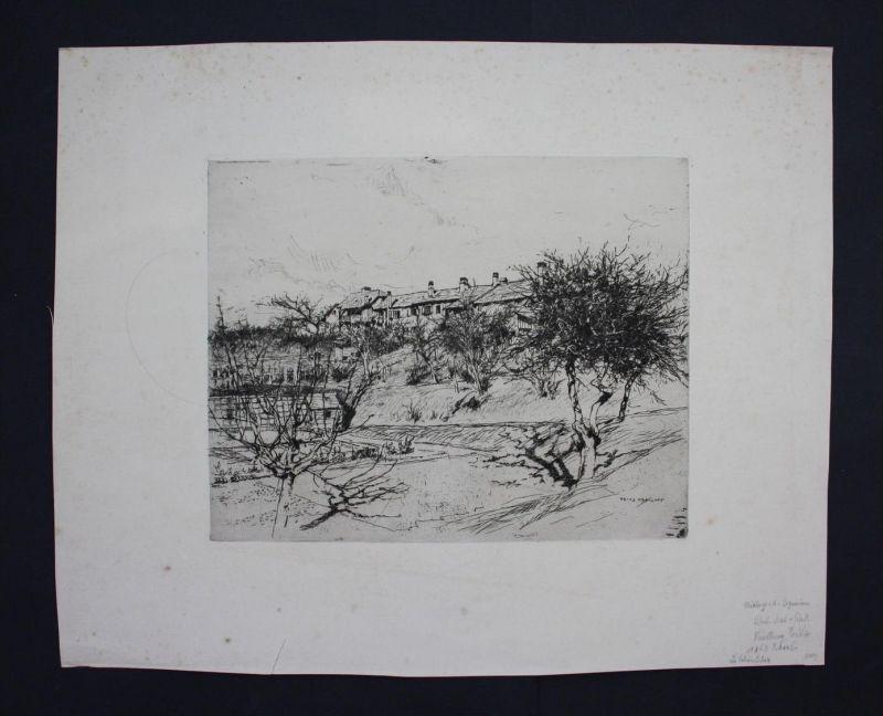 Fritz Voellmy - Original Radierung etching engraving Basel Karlsruhe München