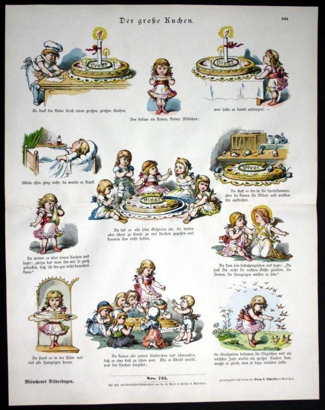 Der große Kuchen cake Kinder Mädchen Münchener Bilderbogen Bildergeschichte