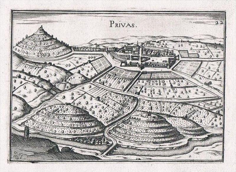 Privas Rhone-Alpes Ardeche France gravure Kupferstich Original Tassin