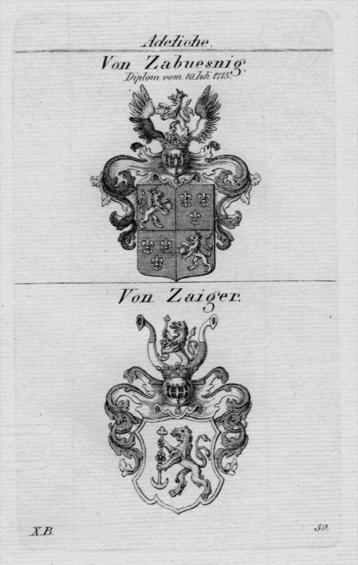 Zabuesnig Zaiger Wappen Adel coat of arms heraldry Heraldik Kupferstich