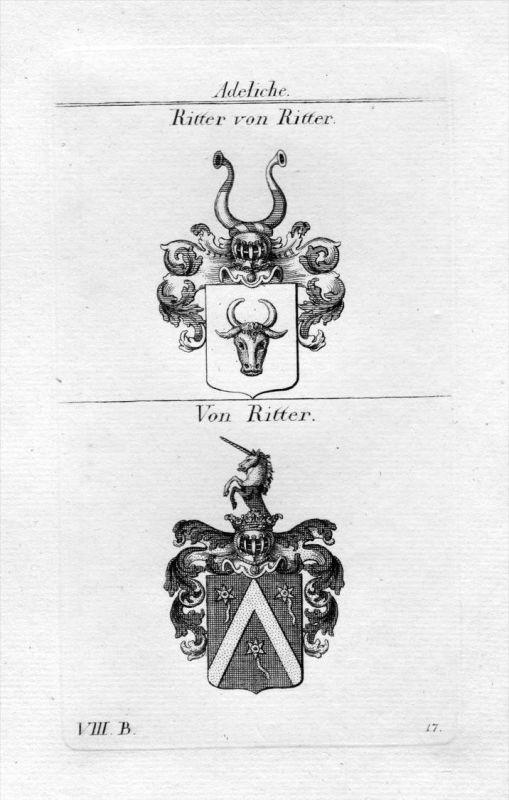 Ritter von Ritter - Wappen Adel coat of arms heraldry Heraldik Kupferstich