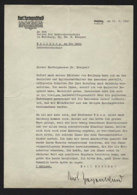 - Karl Springenschmid Autograph Brief Signatur Salzburg Alfred Thon