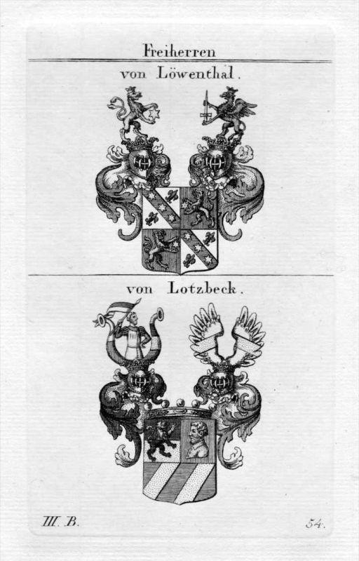 Löwental Lotzbeck - Wappen Adel coat of arms heraldry Heraldik Kupferstich