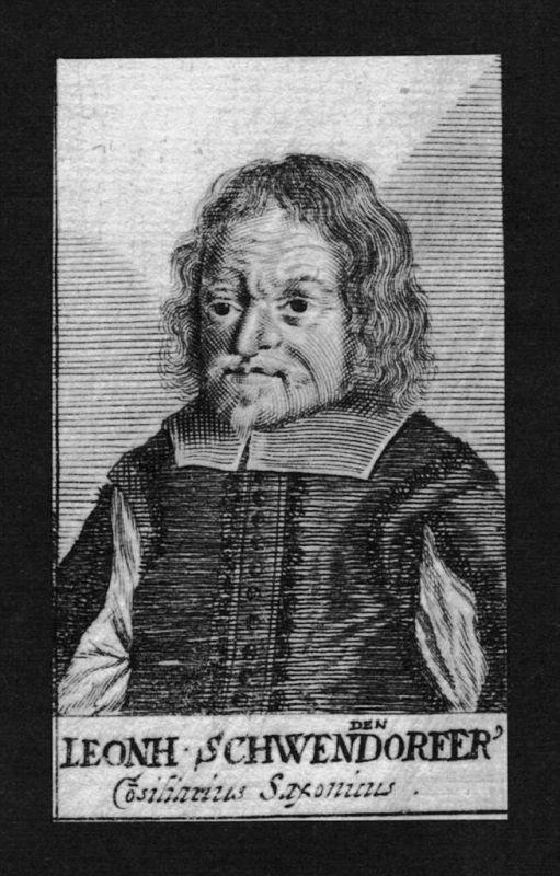 Leonhard Schwendendorfer Jurist lawyer Sachsen Kupferstich Portrait