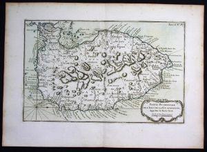 Guadeloupe Basse Terre Lesser Antilles Bellin handcolored antique map