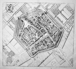 - Düren Stadtplan Gesamtansicht Westfalen Kupfer
