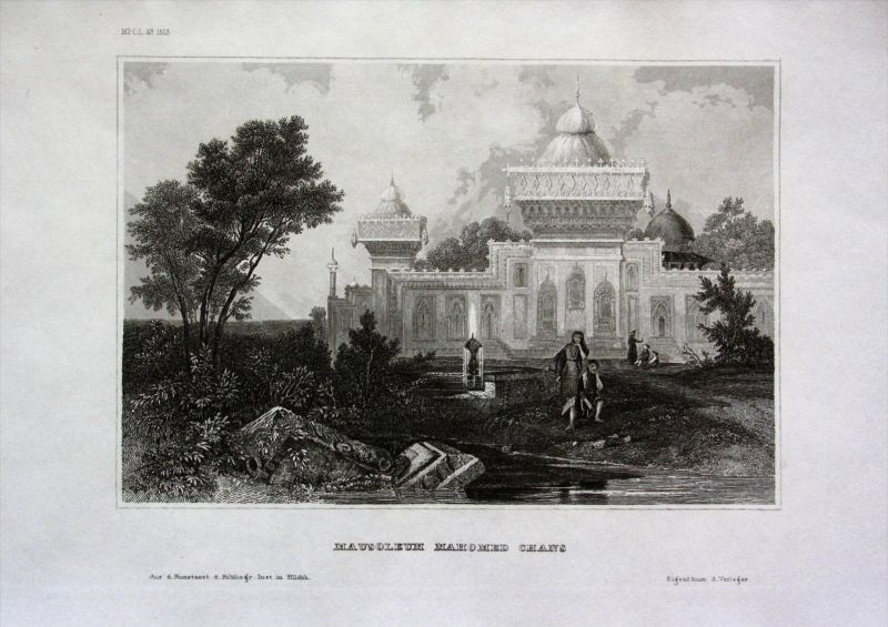 Mausoleum Mahomed Chan Indien India Asien Asia engraving Stahlstich