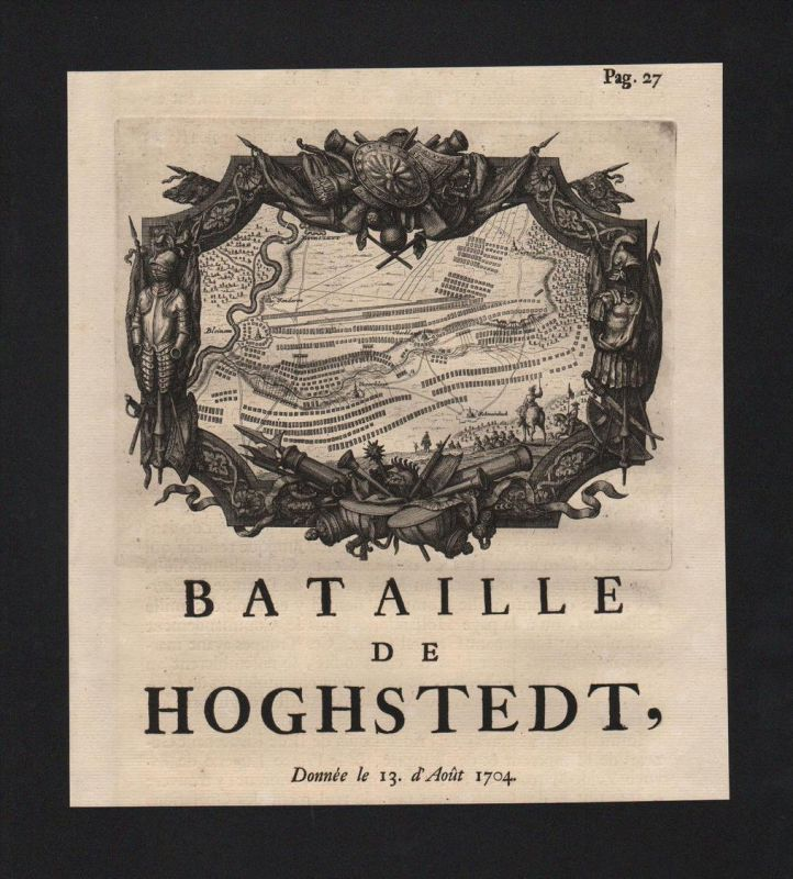 Höchstädt Schlacht battle Bayern Bavaria Original engraving Kupferstich