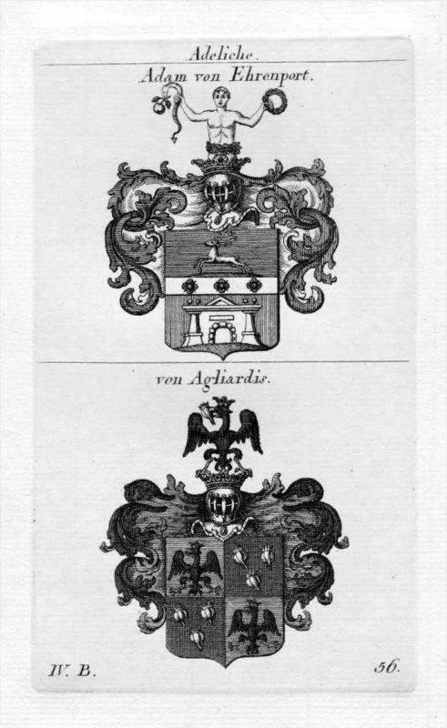 Ehrenport Agliardis - Wappen Adel coat of arms heraldry Heraldik Kupferstich
