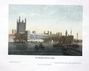 - London Parlament Parliament  Lithographie lithograph color
