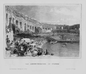 Nimes Amphitheater Besucher Gard Frankreich France engraving Stahlstich