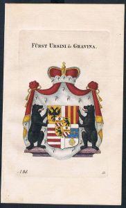 Fürst Ursini de Gravina Kupferstich Genealogie Heraldik coat of arms
