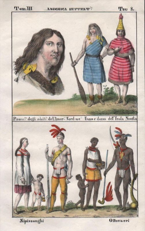 nuu chah nulth Canada Indians Indianer Lithograph antique natives