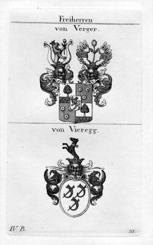 Verger Vieregg - Wappen Adel coat of arms heraldry Heraldik Kupferstich