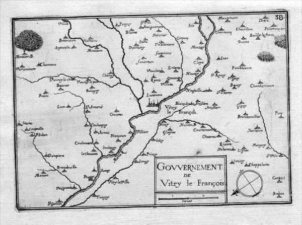 Vitry-le-Francois Marne Gravure Estampe map carte Kupferstich