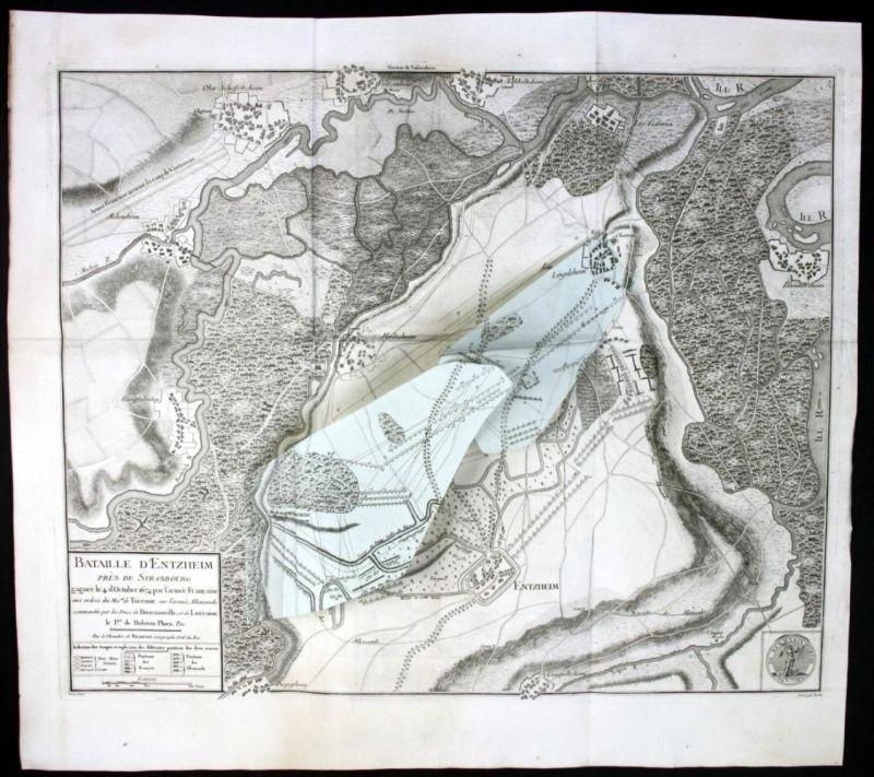 Bataille de Entzheim Alsace Elsass gravure Kupferstich Karte map