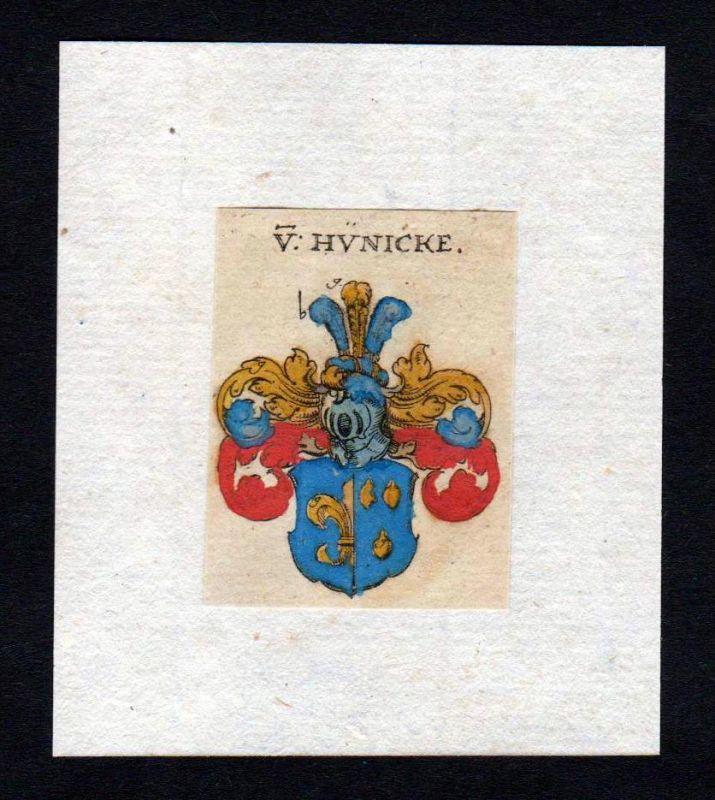 Hünicke 17. Jh Wappen coat of arms heraldry Heraldik Kupferstich