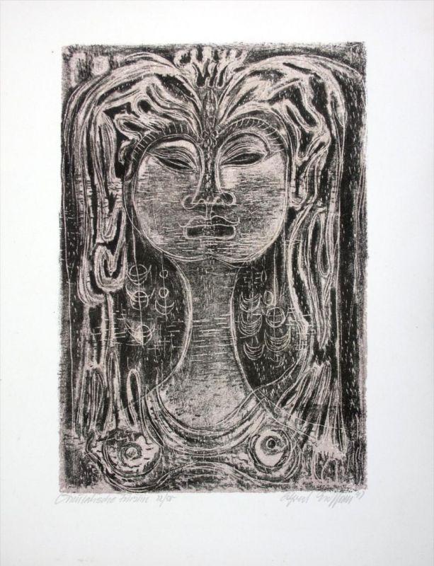 Orientalische Fürstin Alfred Eichhorn original Lithographie signiert Stuttgart
