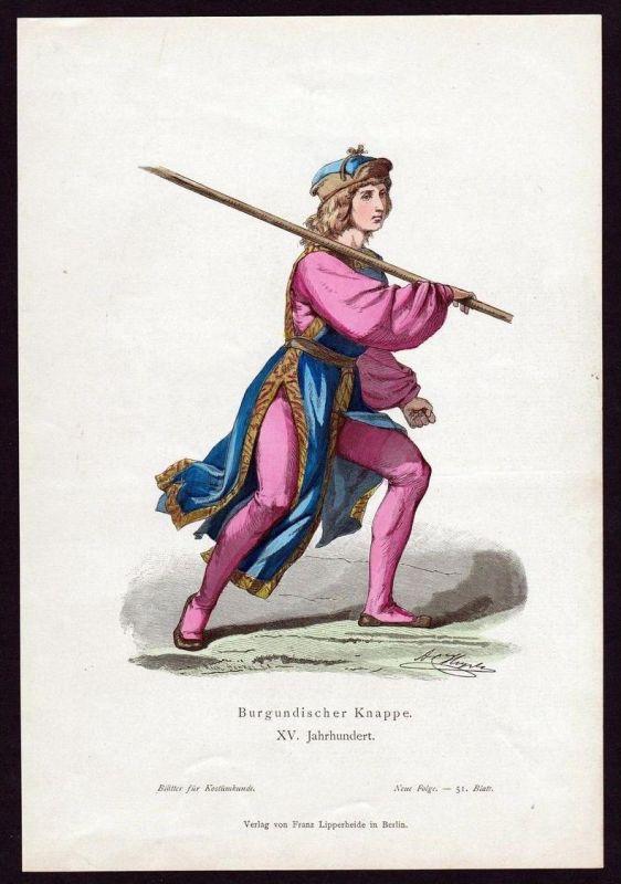 Burgunden Knappe 15. Jahrhundert Trachten Tracht costume original Grafik