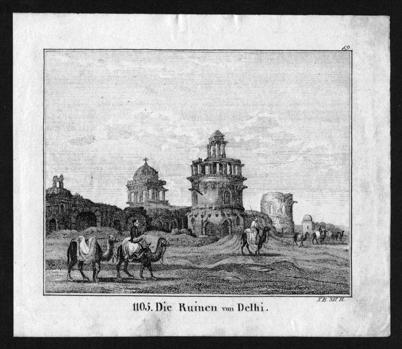 Delhi India Indien Lithographie Lithograph