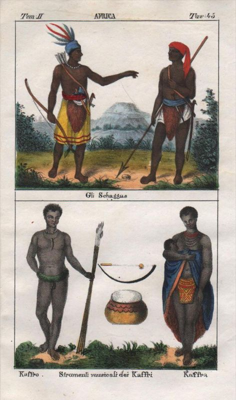 - South Africa people costume Lithograph Negro natives Khoikhoi