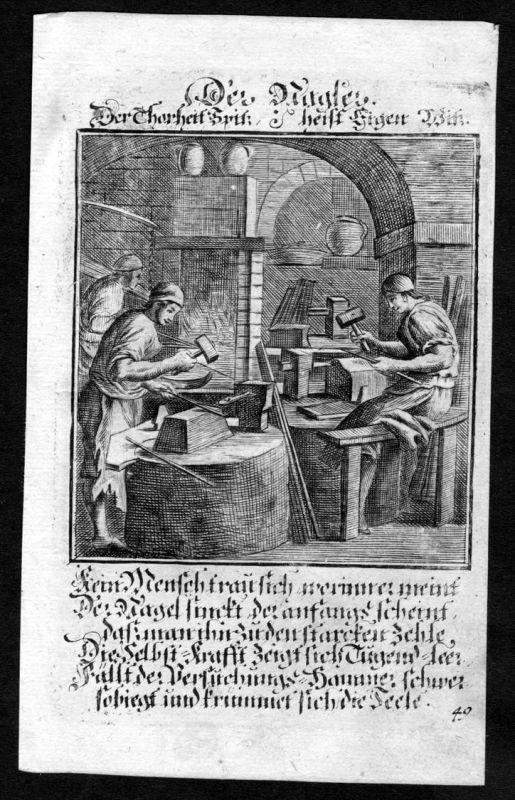 Nagler Nagelmacher nails maker Beruf profession Weigel Kupferstich antique print