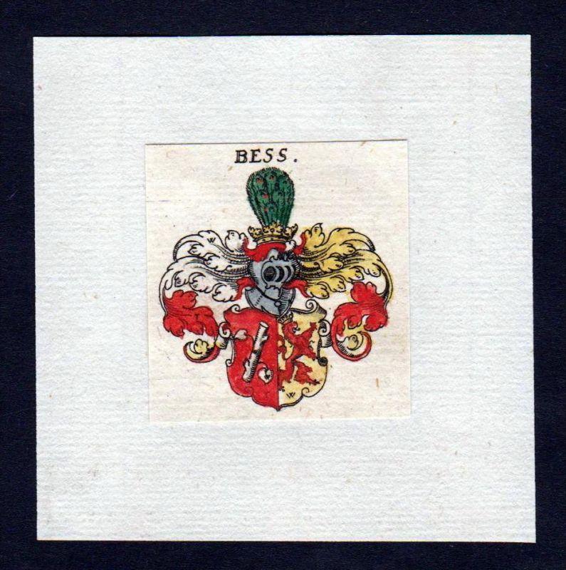 17. Jh von Bess Wappen coat of arms heraldry Heraldik Kupferstich