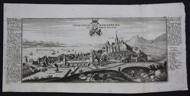 Neuenburg Neuchatel Neuenburgersee Gesamtansicht Kupferstich Bodenehr