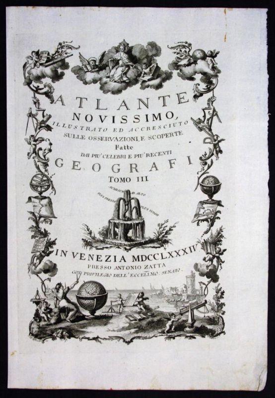 Zatta Atlas Atlante Novissimo title page Titel engraving Kupferstich map