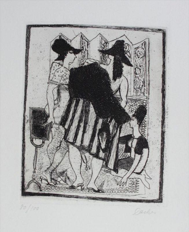 Max Lacher Original Radierung signiert etching signed München Anprobe