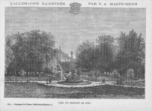Kiel Schlosspark Original Holzschnitt
