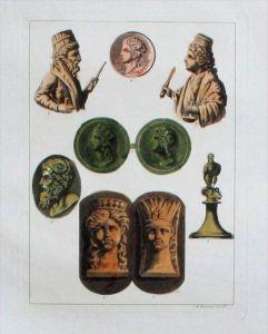 Cyrene Libya coins Antike Original Aquatinta aquatint antique print