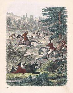 Parforcejagd Jagd hunting Frankreich France Lithographie lithograph
