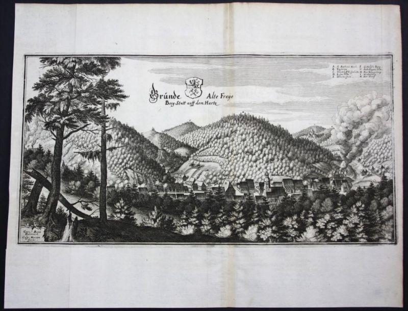 Bad Grund / Harz - Gesamtansicht - Karte Kupferstich Merian