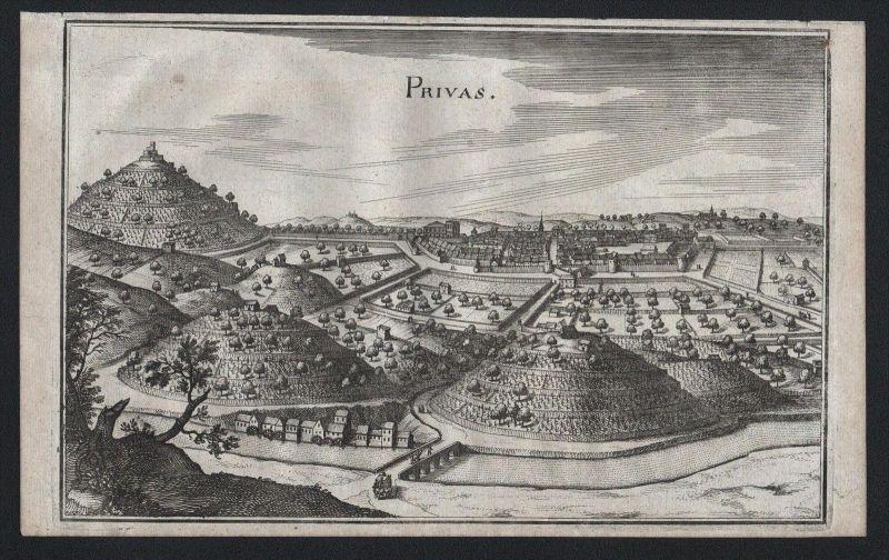 Privas Rhone-Alpes Ardeche gravure Kupferstich Merian engraving